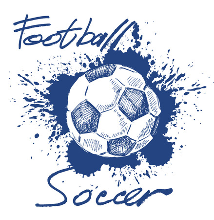 vector blue soccer icon on white background Çizim