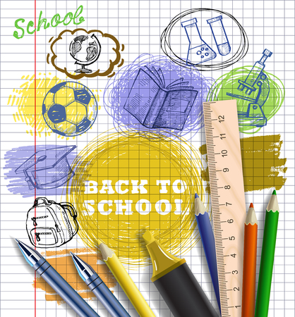 vector background with education icons set Vector