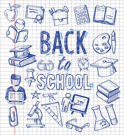 教育: 教育のアイコン セットでのベクトルの背景  イラスト・ベクター素材