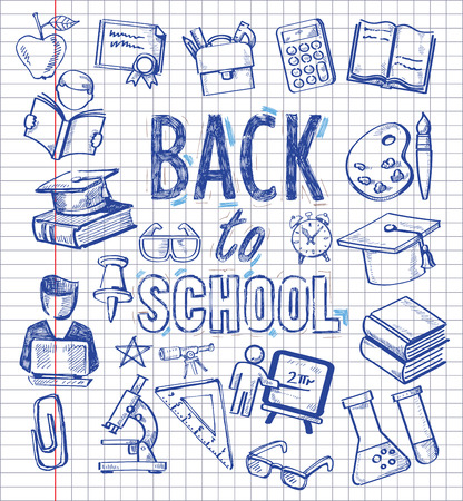 eğitim: eğitim simgeleri ile vektör arka plan ayarlamak Çizim