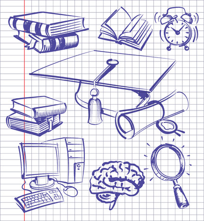 vector blue education and school set on paper Illustration