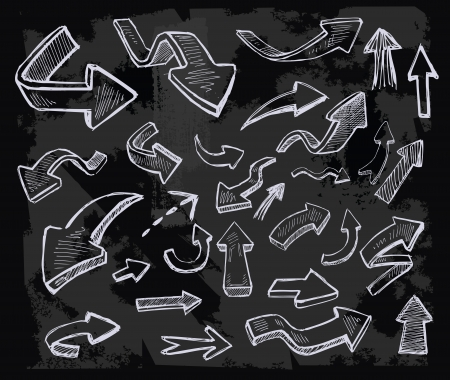 chalk line: vector hand drawn arrows icons set on chalkboard