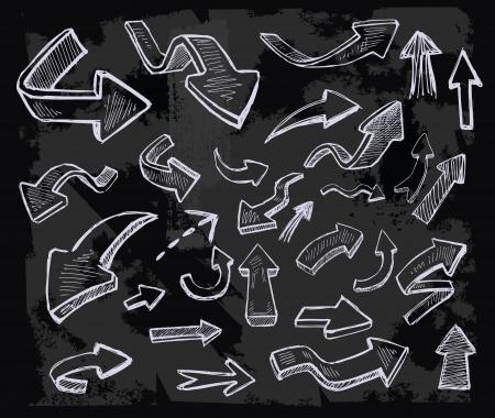 vector hand getrokken pijlen pictogrammen op krijtbord