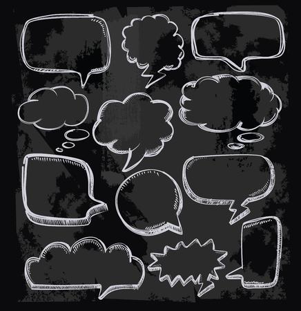 vector hand drawn speech bubbles on chalkboard Stock Vector - 23085609
