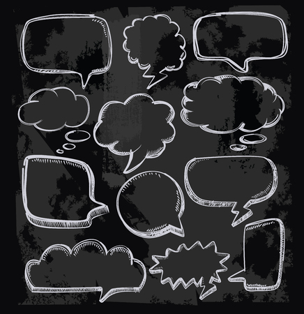 blackboard cartoon: vector hand drawn speech bubbles on chalkboard