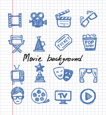 vector blue movie icon set on white paper Vector