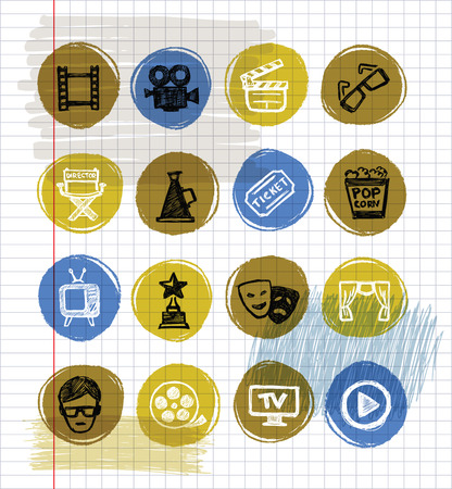 director's chair: vector color movie icon set on white paper