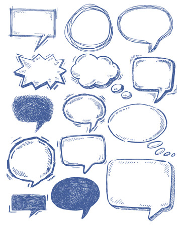 speech icon: vector hand drawn speech bubbles on white Illustration