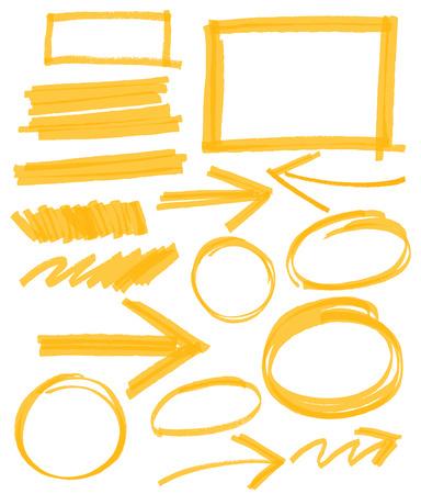 underline: set of orange vector abstract hand-painted marker