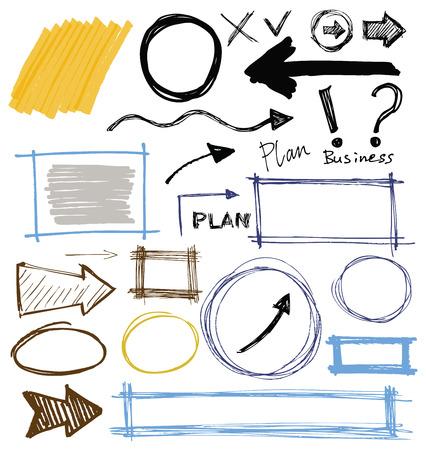 set van kleur vector abstract handgeschilderde marker