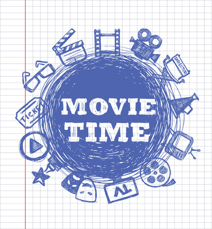 hollywood: vector blue movie icon set on white paper