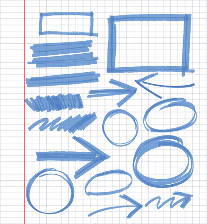set of blue vector abstract hand-painted marker Vector