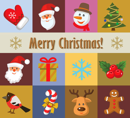 vector color christmas icons set photo