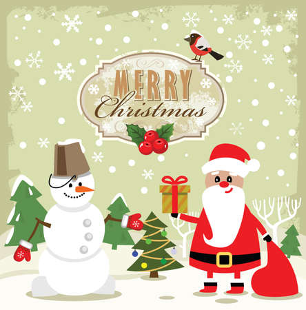 vector snowman, santa claus and new year photo