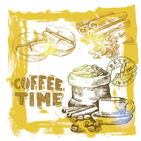 coffee bag: Hand drawn vector coffee set on background