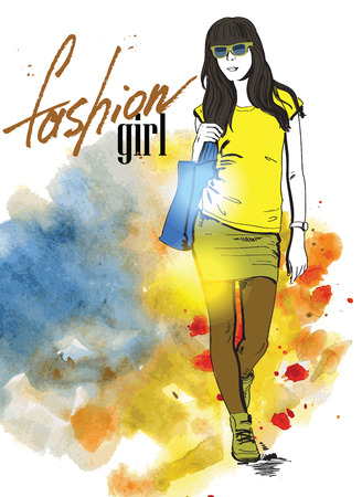 vector hand drawn picture of fashion girl photo
