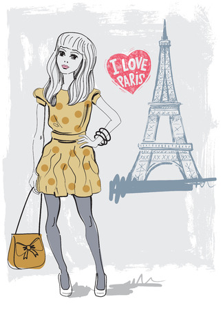 vector hand drawn fashion girl in paris photo