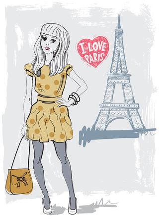 vector hand drawn fashion girl in paris photo