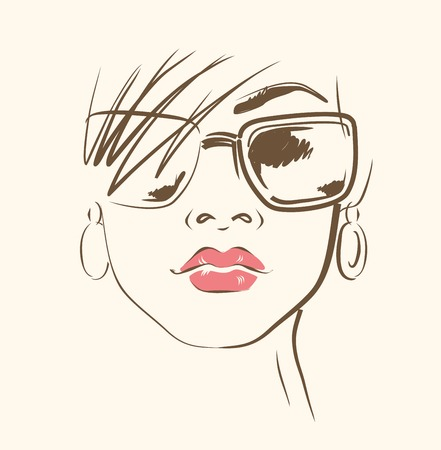 sexy lips: vector hand drawn woman face in glasses Stock Photo
