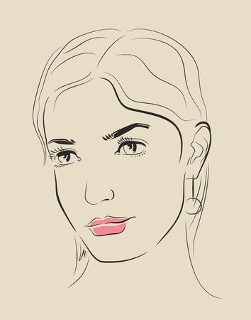 Vector hand getekende vrouw gezicht