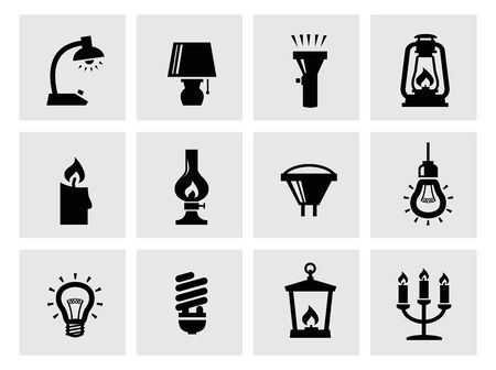 vector various lighting icons of lamps on white photo