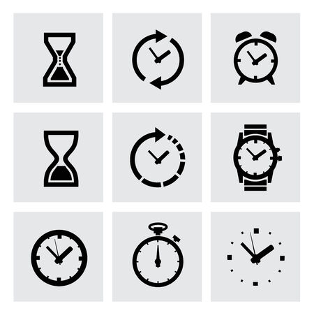 vector black clocks icons photo