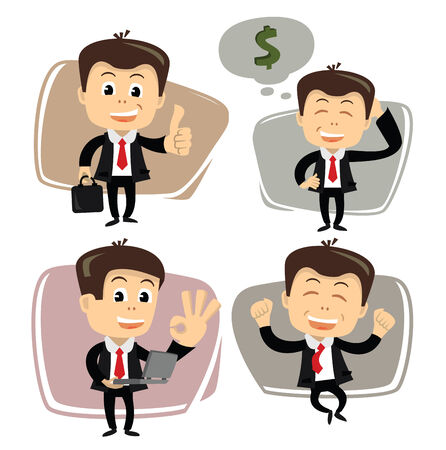 vector businessman in various poses Stock Photo - 26427654