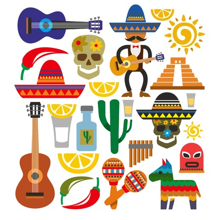vector mexico icons Stock Photo