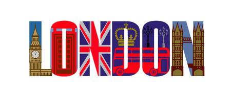 bandera inglesa: vector icon set londres Foto de archivo