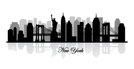 new york buildings: vector new york skyline silhouette Stock Photo