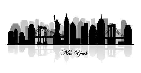 lineas blancas: vector silueta nueva york horizonte