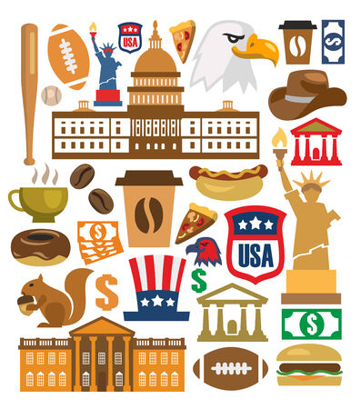 vector america icons set