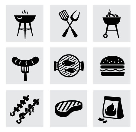 charcoal grill: vector black barbecue icons set on gray