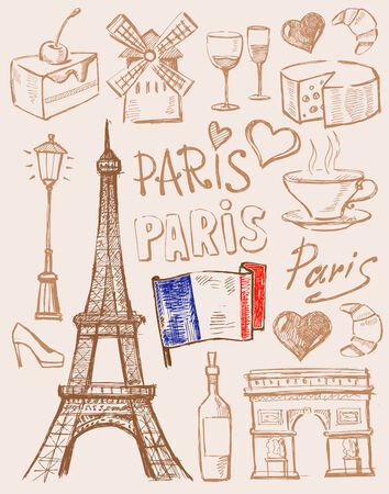 vector hand drawn paris illustration