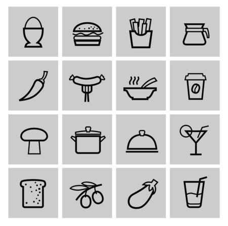 button mushroom: vector food icons set Stock Photo