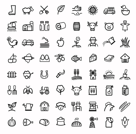 vector black agriculture and farming icons set Stock Photo
