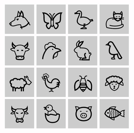 fish icon: vector black agriculture and farming icons set Stock Photo