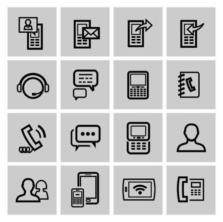 black pictogram: vector black phone icons set Stock Photo