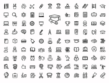 vector black education icons set Banco de Imagens