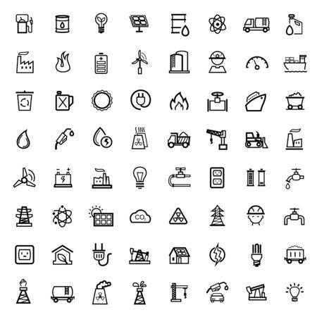 factory icon: black energy icons set