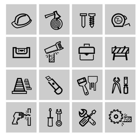 chisel: vector black construction icons set Stock Photo