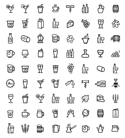 drinking: vector black beverages icons set
