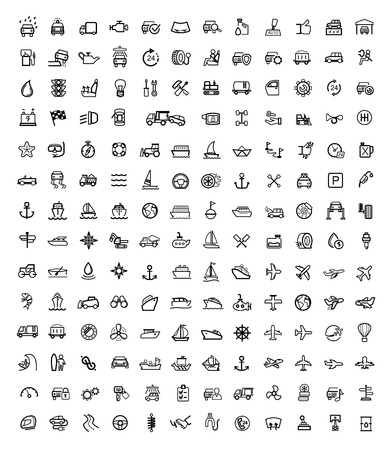 ship wheel: vector black auto icons set