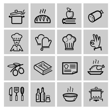 the recipe: vector black kitchen icons set Stock Photo