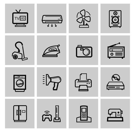 photo printer: vector electronics icon set