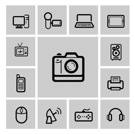 vector black electronic devices icons set photo
