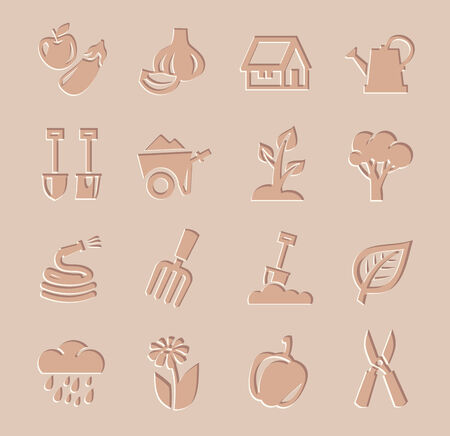 gardening hoses: vector agriculture and farming icons set