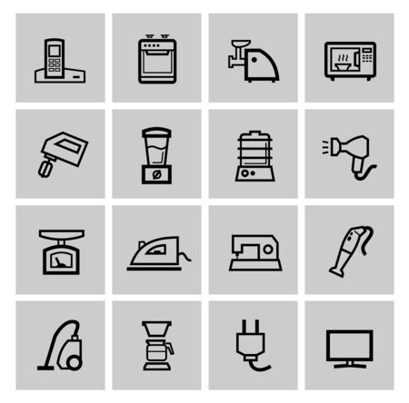 vector black home appliances icons set photo