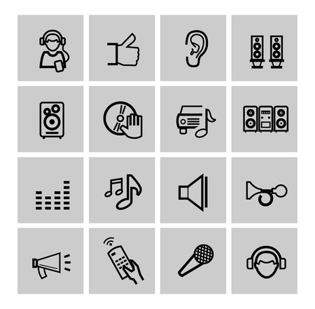 earbud: vector black music icons set