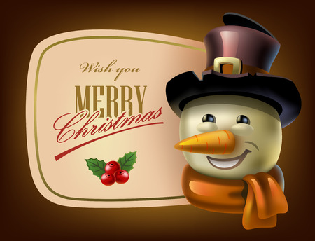 holliday: Christmas Greeting Card with snowman